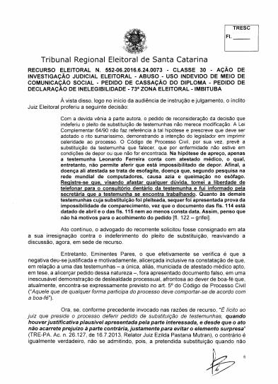 Parte do Acordão do TRE-SC