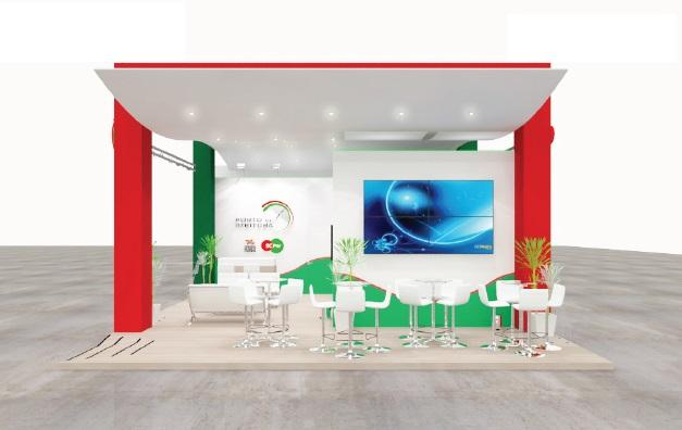 Estande da SC PAr Porto de Imbituba é inspirado no mar, com arquitetura clean e amplos espaços e contempla um lounge e duas salas de reuniões